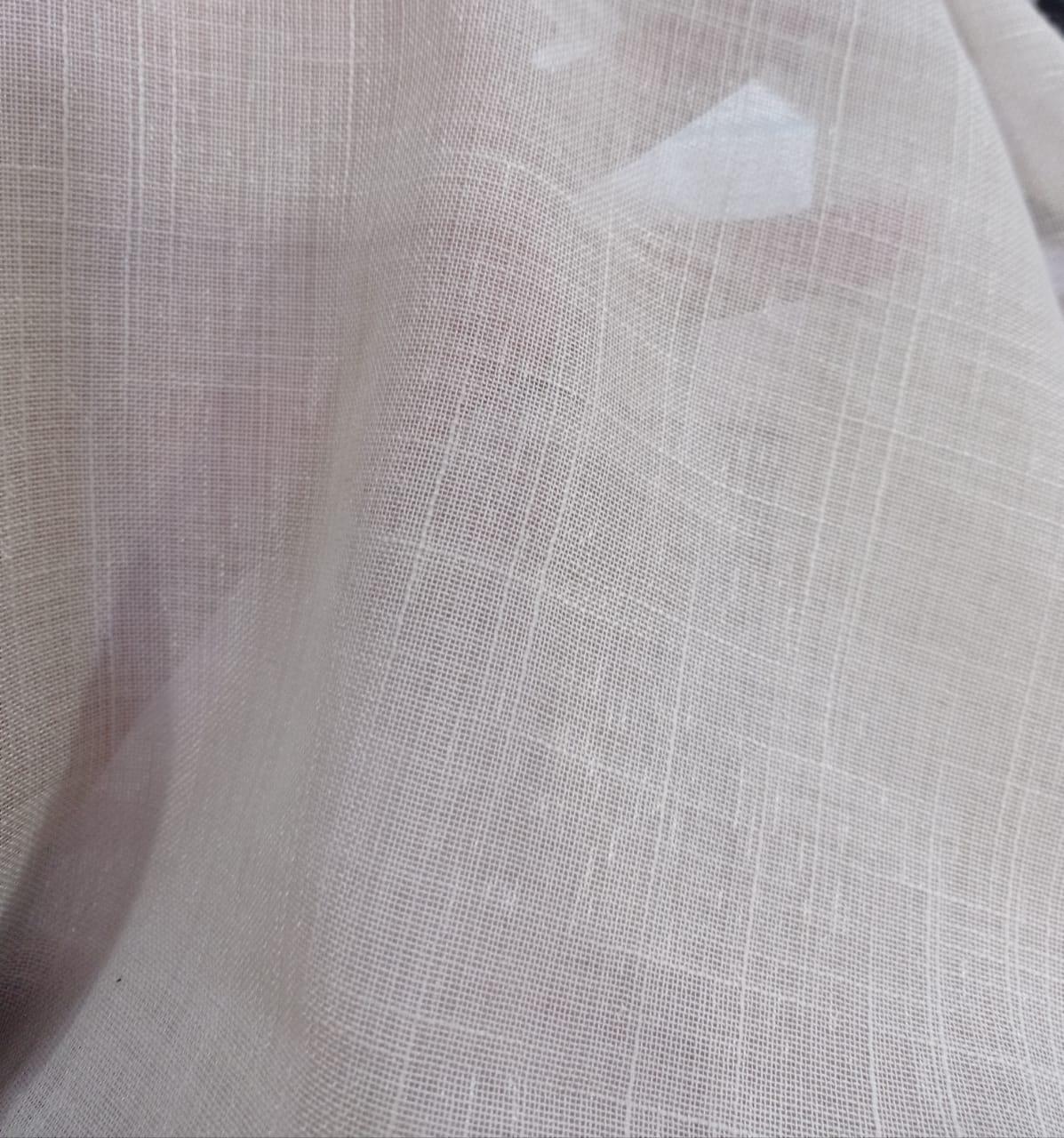 Cortina de Gaze de linho bege com forro microfibra - 10,00 x 2,85 - Para Trilho Suíço Max Duplo (L)