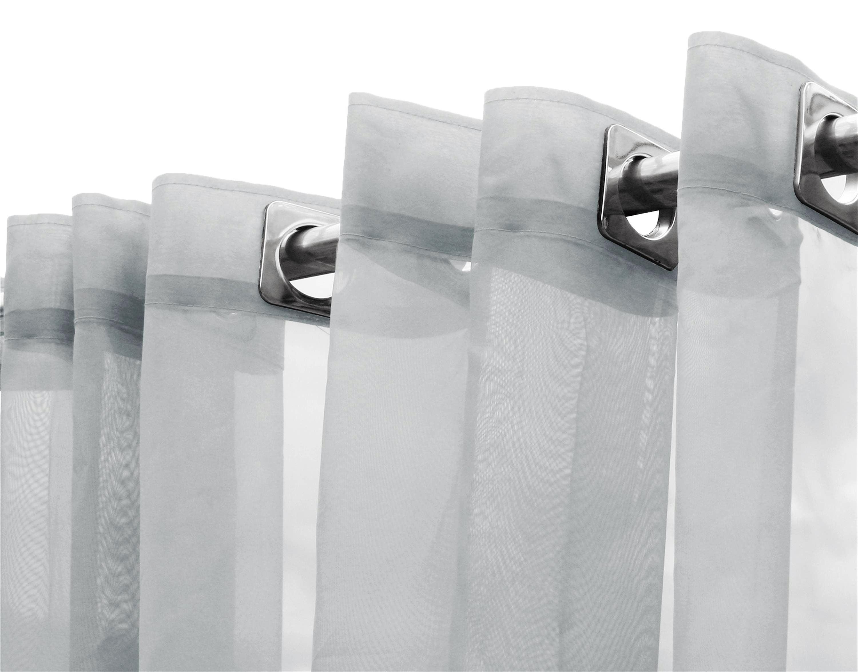 Cortina de Voil Liso Branco 10,00 x 2,55 - Para varão Simples com ilhós Branco (H)