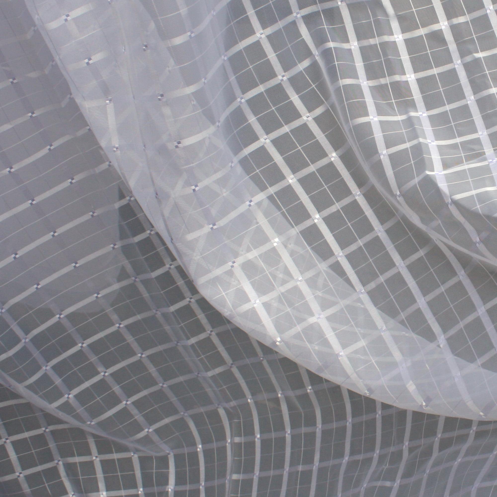 Cortina de Voil Xadrez Branco com forro Microfibra Branco 8,00 x 2,70 - Para varão Simples com ilhós Branco (H)