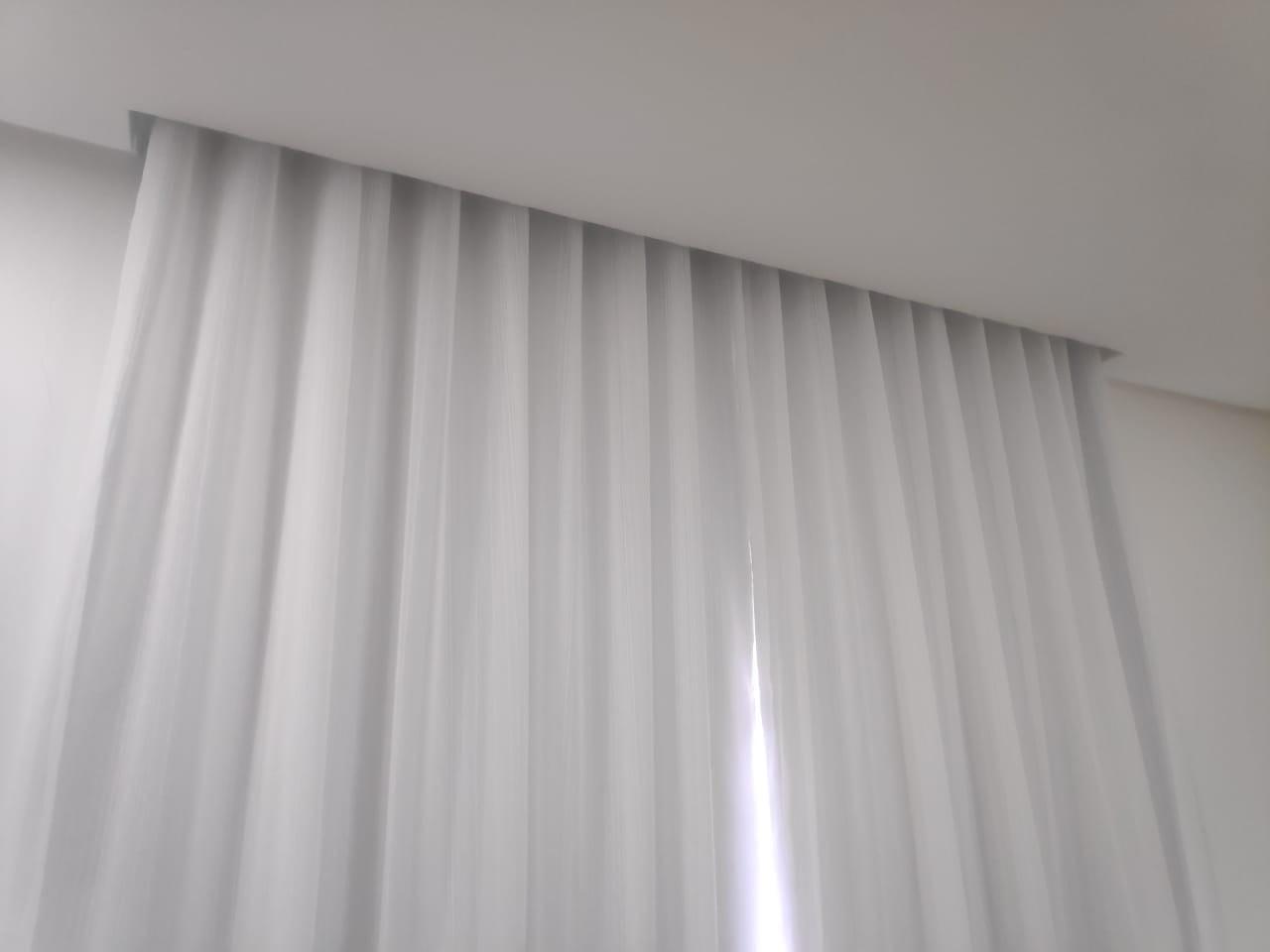 Cortina Voil Liso Branco Blackout 100% 5,40 x 3,00 Para Varão Suiço Max Simples ( Cliente Kenia ML)