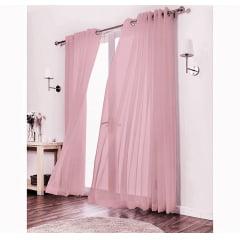 Cortina de Voil Luxo Sem Forro - Rosa