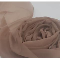 Cortina de Voil Chocolate com Forro Blackout 70% Palha - 5,40 x 3,80 - Ilhós Imbuia
