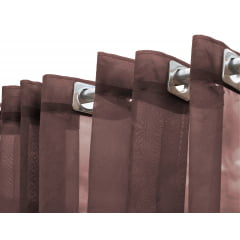 Cortina Voil Liso Marrom com forro Microfibra bege - Para varão ilhós imbuia 8,00x2,10 F