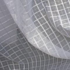 Cortina de Voil Trabalhado com Forro Microfibra - Xadrez Branco